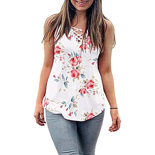 Witspace Women's Summer Sleeveless Criss Cross Casual Tank Tops Basic Lace up Blouse