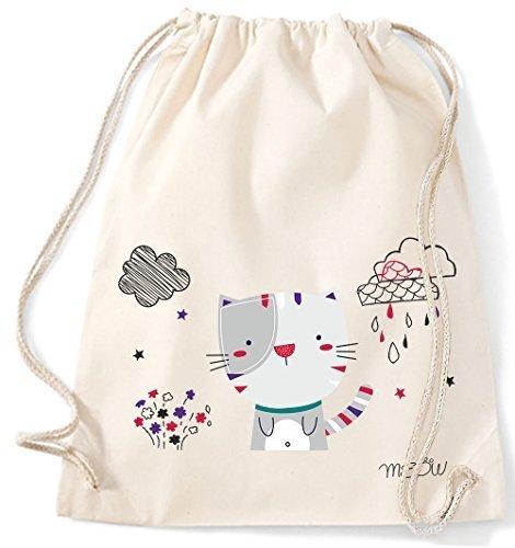 Bolsa de Yute Bolsa de Gimnasio Bolsas de deporte Bolsa de tela bolsa de algodón Mochila con cordel Gymsack cat gato MIAU - Negro, 37 x 46 cm Natural