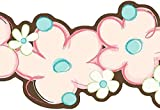 Wallpaper Border Modern Pink Aqua Flower Power Double Die Cut w/ Green & Brown