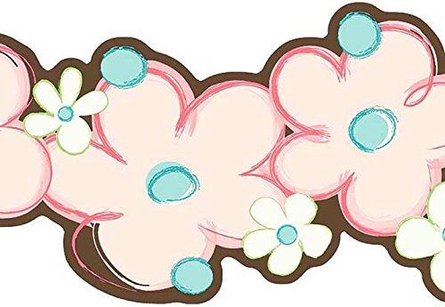 Wallpaper Border Modern Pink Aqua Flower Power Double Die Cut w/ Green & Brown