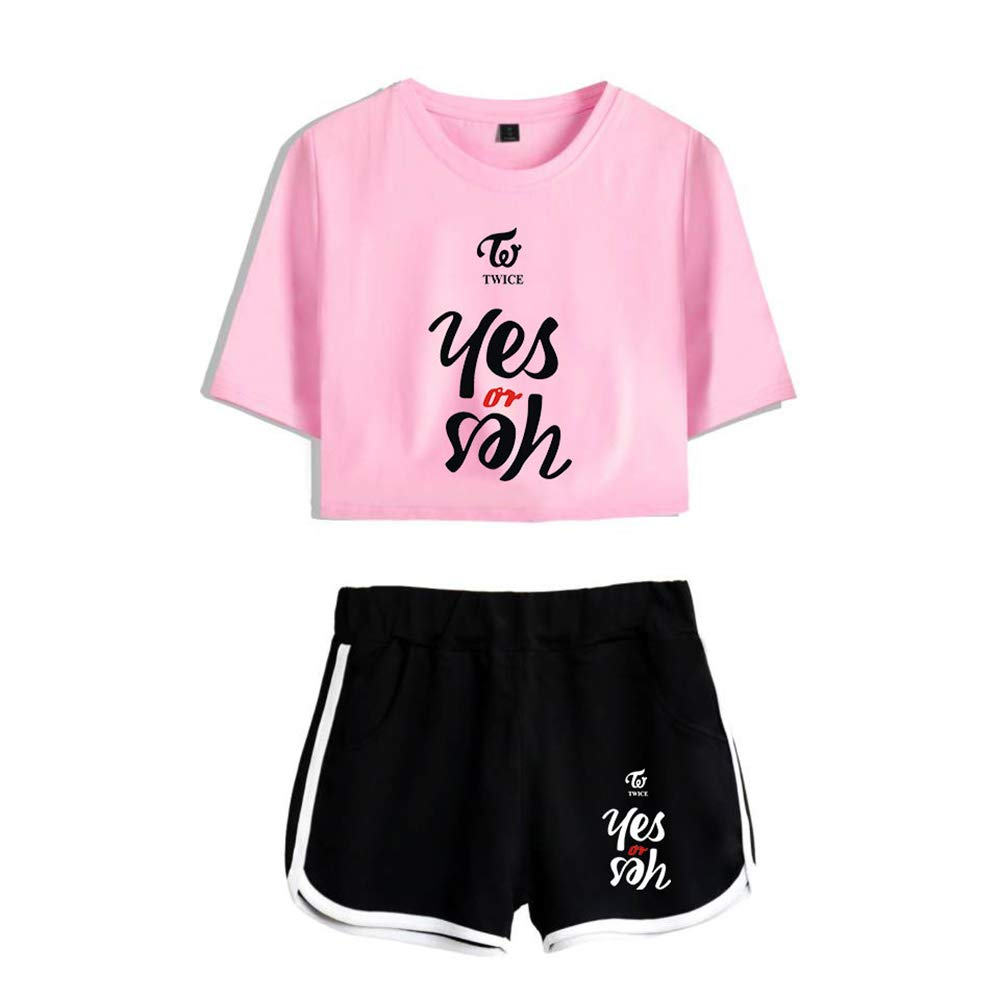 KPOP Twice T-Shirts und Hosen Set Shorts Yes Or Yes Album Sommer Crop Tops Anzug Frauen Bauchfrei Oberteile Sport Kurze Hose Set Aufdruck Bekleidungs NA YEON JUNG YEON MOMO