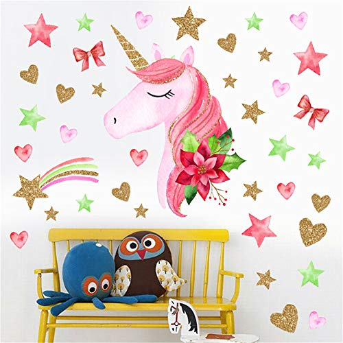 Bling Bling Heart (CCUT Cute Unicorn Bling Heart&Star Wall Decals Removal PVC Wall Art Stickers DIY Kids Girls Bedroom Home Nursery Room Wall Mural Decor)