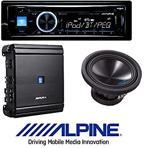 "ALPINE Car Stereo CD/USB Receiver w/ Advanced Bluetooth W/ Alpine 500 Watt RMS Mono Amplifier Class D Digital Car Amp+ 10"" 1500 Watt Dual 4-Ohm Car Audio Subwoofer"
