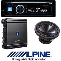 ALPINE Car Stereo CD/USB Receiver w/ Advanced Bluetooth W/ Alpine 500 Watt RMS Mono Amplifier Class D Digital Car Amp+ 10 1500 Watt Dual 4-Ohm Car Audio Subwoofer