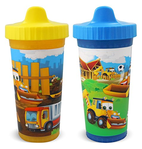 USA Kids Construction Pals Insulated Sippy Cups, Yellow/Blue, 2 (Sippy Pal)