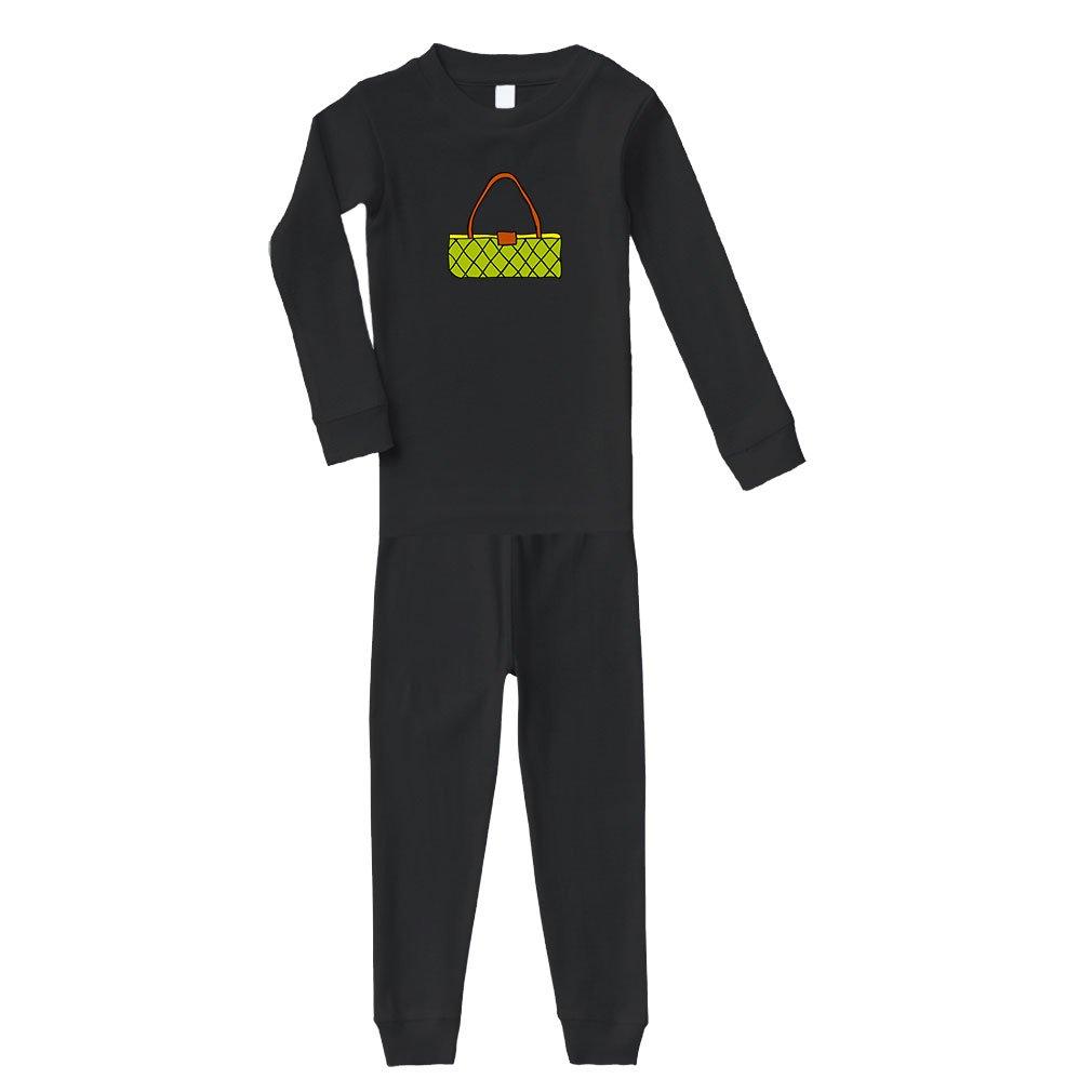 Purse Green Little Cotton Long Sleeve Crewneck Unisex Infant Sleepwear Pajama 2 Pcs Set Top and Pant - Black, 2T