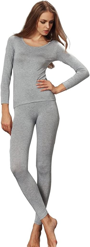 Liang Rou Women's Crewneck Long Johns Ultra Thin Modal Thermal Underwear Top & Bottom Set at  Women's Clothing store