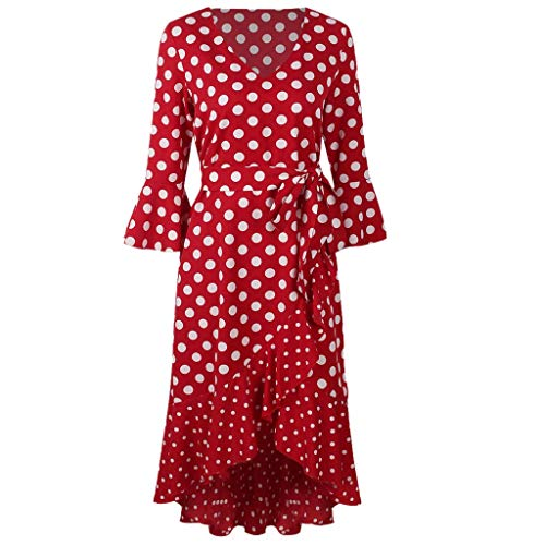 Dots Print Dresses, QIQIU Womens Elegant Half Bell Sleeve V Neck Vintage Long Party Evening Prom Dress Red