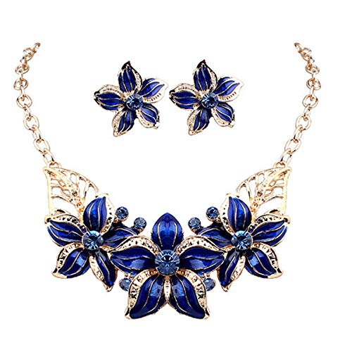 (ODETOJOY Blue Silver Plated Austrian Crystal Enamel Flower Necklace Earring Jewelry Sets for Women African Costume Sapphire Jewelry)