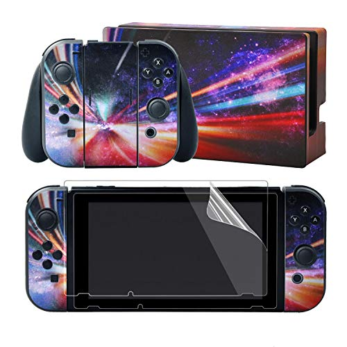 eXtremeRate Full Set Faceplate Skin Decals Stickers and 2 Pcs Screen Protector for Nintendo Switch/NS Console & Joy-con Controller & Dock Protection Kit - Fantasy Galaxy from eXtremeRate