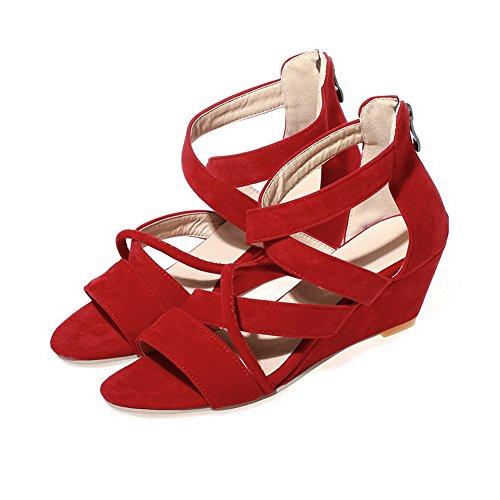 AllhqFashion Womens Kitten Heels Solid Zipper Frosted Open Toe Wedges-Sandals Red 2tCIjM