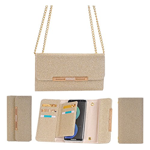 FuriGer S7 Edge Case, Apple S7 Edge Wallet Case,Bling Glitter PU Leather 7 Card Slots Wallet Case Handbag with Detachable Magnetic Back Case and Metal Chain for S7 Edge-Gold (Bell Glitter Gold)
