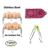 steamer nesco - Steamer Egg Rack Trivet Set for Instant Pot,Stackable Stainless Steel Egg Holder & Multipurpose Egg Slicer & Bowl Clip as Pressure Cooker Accessories