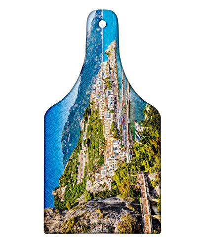 Lunarable Amalfi Coast Cutting Board, Scenic View of Famous Bay Mediterranean Sea Sailboats Town Houses, Decorative Tempered Glass Cutting and Serving Board, Wine Bottle Shape, Multicolor