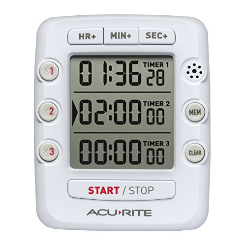 AcuRite Triple Event Digital Kitchen Timer with Jumbo Display 00482 - Event Digital Timer