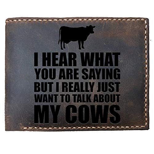 (Max&Mori Custom Laser Engraved Leather Bifold Wallet for Men,Unique Cow Present Idea - Dairy Farm Wallet - Great For A Dad Or Grandpa)