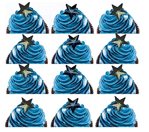 Galaxy Stars Navy & Black Ready To Use Edible Cake/Cupcake Sugar Decoration Toppers -24ct for $<!--$9.99-->