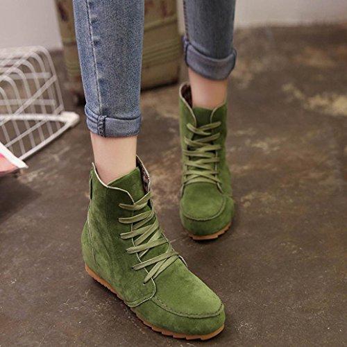 Botas Cuero Por ESAILQ de Tobillo Planas ESAILQ Cordones de de de Femenina Botas Nieve Mujer por Zapatos de de Gamuza Verde fvxwTHUq