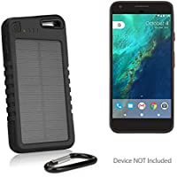 Google Pixel Battery, BoxWave [Solar Rejuva PowerPack (5000mAh)] Solar Powered Backup Power Bank for Google Pixel - Jet Black