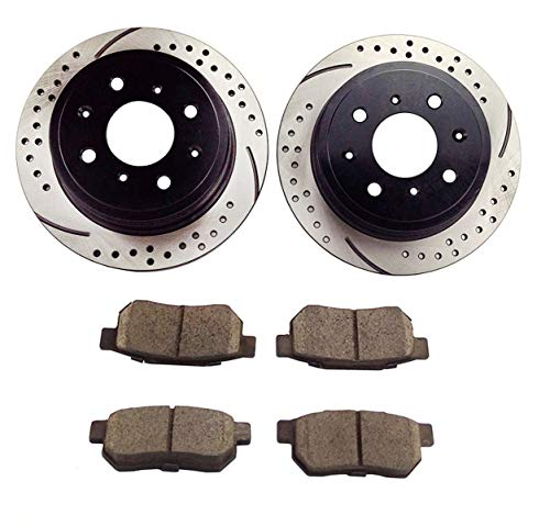 Atmansta QPD10016 Rear Brake kit with Drilled/Slotted Rotors and Ceramic Brake pads for 1993-97 Honda CIVIC