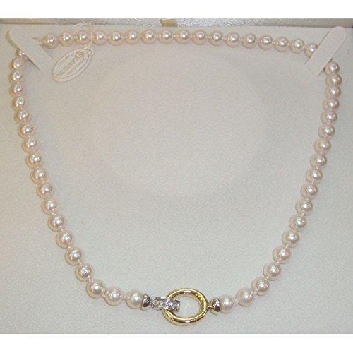 Collier Fil Orelù-perle d'eau salée AKOYA 7-7,5 Orelù en or jaune et blanc 18 cts et diamants