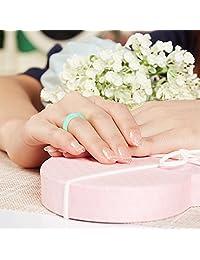 10 unidades anillo de boda de silicona, jingrays boda de silicona banda para las mujeres, fina y apilable Durable cómodo antibacteriano banda de anillos de goma