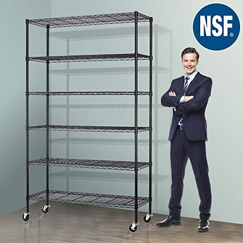 - Storage Metal Shelf Wire Shelving Unit with Wheels 82