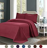 3 Piece Superior Comfy Embossed Bedspread Set,Oversized Ultrasonic Thermal Pressing Embossed Coverlet Set,Moderate Weight Bed Spread,TINOS(King,Burgundy)