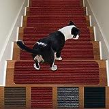 Stair Treads Non-Slip Carpet Indoor Set of 13 Carpet Stair Tread Treads Stair Rugs Mats Rubber Backing (30 x 8 inch),(Dark Red, Set of 13)
