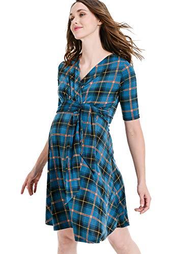 Hello MIZ Women's Floral Faux Wrap Side Tie Belt Nursing and Maternity Dress (Teal Plaid, M) ()