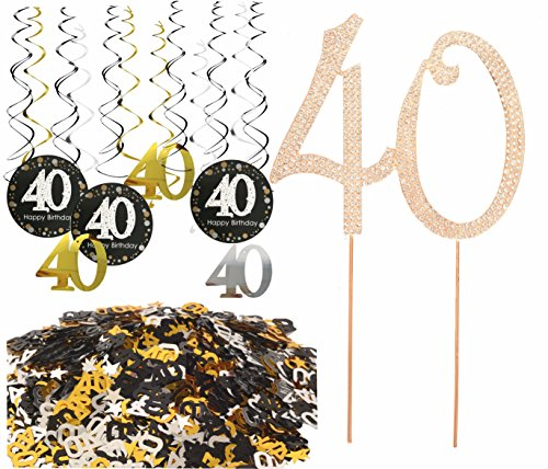 40th Birthday Party Supplies, 40th Birthday Party Table Confetti (1.08oz) Decorations + 40th Birthday Hanging Swirl (12 Counts) Ceiling Decor + 40 GOLD Cake Topper for 40th Birthday (Table Decoration) (Cake Hanging)