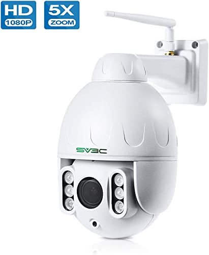 PTZ WiFi Camera Outdoor, SV3C 1080P HD Outdoor IP Camera Wireless, Pan Tilt 5X Optical Zoom WiFi Camera, 2-Way Audio, 196ft Night Vision, Waterproof, Motion Detect Alarm, Support Max 128GB SD Card