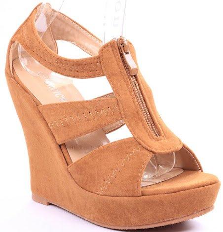 Emmie T-strap Open Toe Faux Suede Comfort Platform Wedge Sandals B00JE61LP4 9 B(M) US Tan
