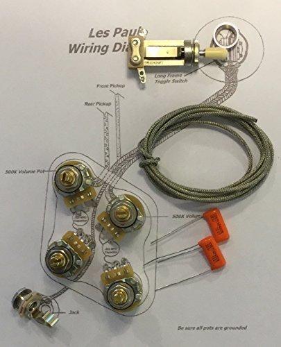Deluxe Standard Long Shaft Wiring Kit for Gibson Les Paul - CTS 500K Pots, .022uf/400v Orange Drop (Black Carved Pot)