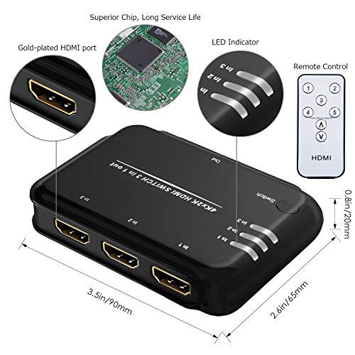 4K 3 Port HDMI Switch, FAIREACH HDMI Switcher Box 3 In 1 Out, 3x1 HDMI Switch Hub with IR Remote Control Supports Full HD 1080P 3D HDCP for PS4 Xbox Apple TV and more