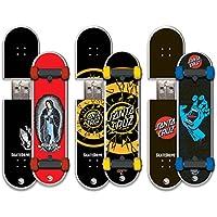 Santa Cruz 3 Pack 16GB SkateDrive USB Flash Drive, JJ G, Dot Fade, SH12