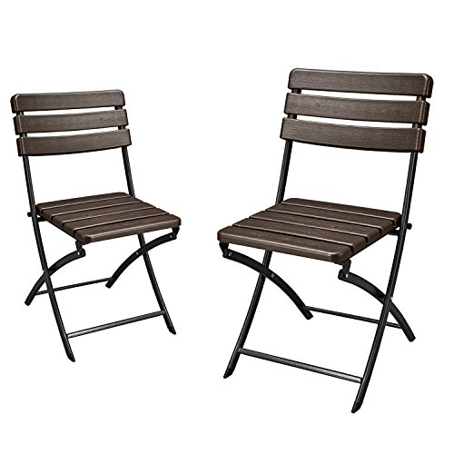 Adeco 2-Piece Folding Bistro-Style Patio Chairs Brown, Set Of 2 by Adeco