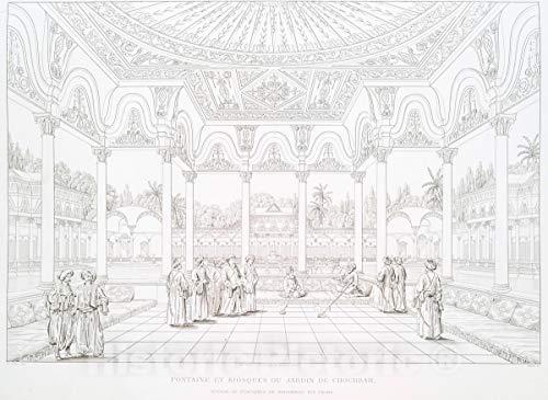 Historic Pictoric 1839 Print | Fontaine et kiosques du Jardin de Choubrah | Vintage Wall Art | 14in x 11in