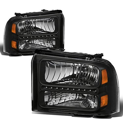 - For Ford Super Duty 1st Gen F250-550 Pair Black Housing Amber Corner LED Headlight Lamp