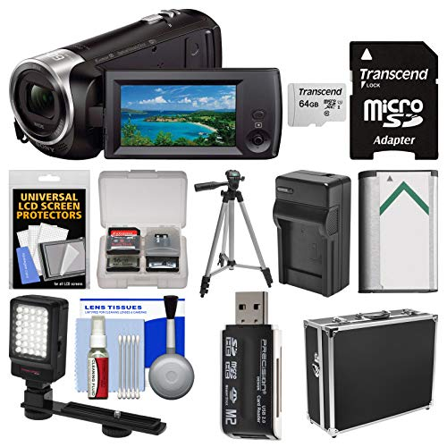 Memory 60x Card Microsd - Sony Handycam HDR-CX440 8GB Wi-Fi 1080p HD Video Camera Camcorder with 64GB Card + Hard Case + LED Light + Battery & Charger + Tripod + Kit