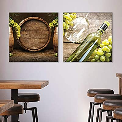 """Canvas Wall Art Wine & Fruits Painting Artwork for Home Prints Framed - 12""""x12"""" x 2 Panels"""