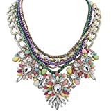 Eyourlife Christmas Hot Multi-Layers Flower Pendant Statement Chunk Collar Necklace Wedding Party Colorful