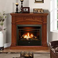 Duluth Forge Dual Fuel Ventless Fireplace-26,000 BTU, Remote Control, Finish Gas Fireplace, Heritage Cherry