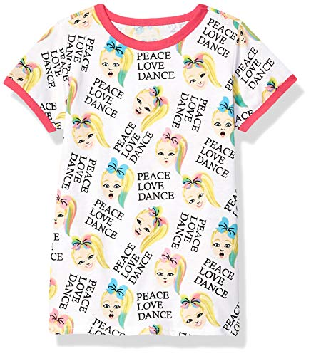 Dance Ringer - JoJo Siwa Girls' Big Peace Love Dance All Over Print Ringer Tee, White/Hot Pink, M-5/6