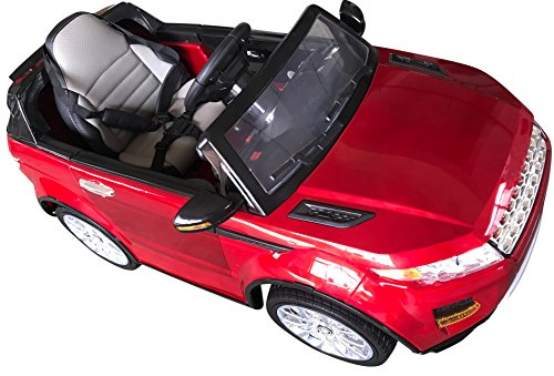 Range Rover Style Premium Ride On Electric Toy Car For Kids - 12V10A Battery Powered - Color LCD - RC Parental Remote Controller - Leather Seat - Boys & Girls - Red (Range Rover Red)
