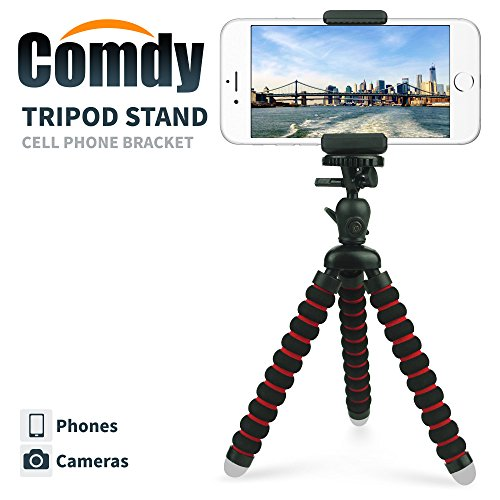Mini Cell Phone Tripod Stand, Flexible mobile phone holder, Octopus Mount for iPhone, Samsung, Camera (Black and Red)