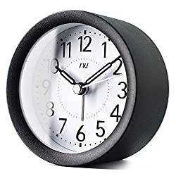 TXL 4 inch Round Metal Analog Alarm Clock Kids' Room Silent Snooze Travel Digital Table Clock with Backlight, Quiet Sweep Luminous Hands, Desk & Shelf Clock for Bedrooms Office Kitchen, Black