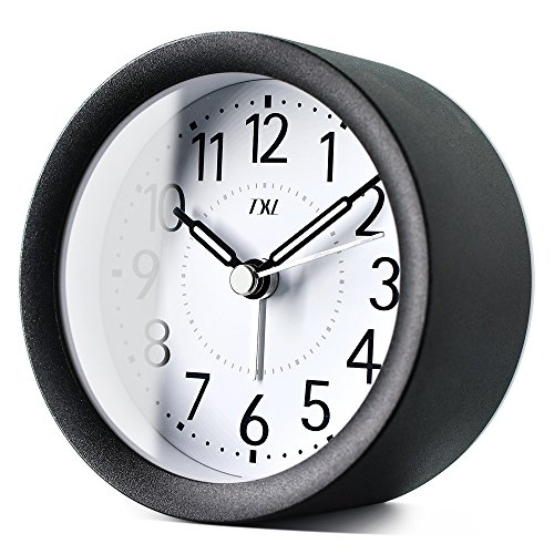 TXL Digital Metal Alarm Clock for Kids' Room Silent Snooze Travel Table Clock with Backlight, Quiet Sweep Luminous Hands, Desk & Shelf Clock for Bedrooms Office Kitchen, Black