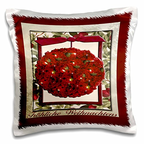3dRose Fröhliche Weihnachten, Merry Christmas in German, Cranberry Ornament-Pillow Case, 16-inch (pc_37018_1)