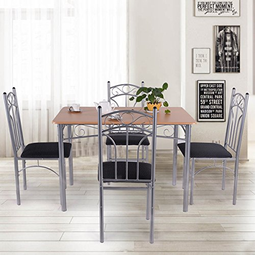 Giantex 5PCS Wood And Metal Dining Set Table And 4 Chairs